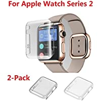 Apple watch Series 2 42MM Case , Monoy 2-Pack (Clear+Grey) New Design Slim Clear 2nd PC Hard Screen Protector...