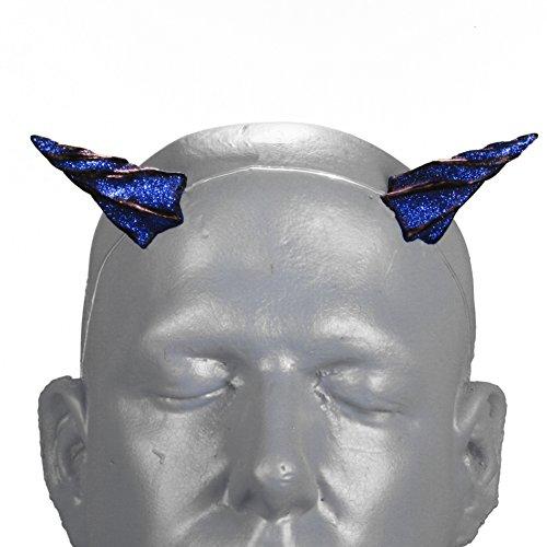 Devil Costume Hair And Makeup (Gypsy Star V2 Blue Glitter Devil Horns w/ adjustable, self locking invisible headband)