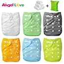 Cloth Diapers, Angel Love 6 Pack Diaper Covers+6 Diaper Inserts+1 Wet Dry Bag, Baby Washable Cloth Pocket Diapers, Reusable, All in one Size, Adjustable Snap, Gift Set, 1ZH01 (Neutral Color)