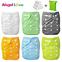 Cloth Diapers, Angel Love 6 Pack Diaper Covers+6 Diaper Inserts+1 Wet Dry Bag...