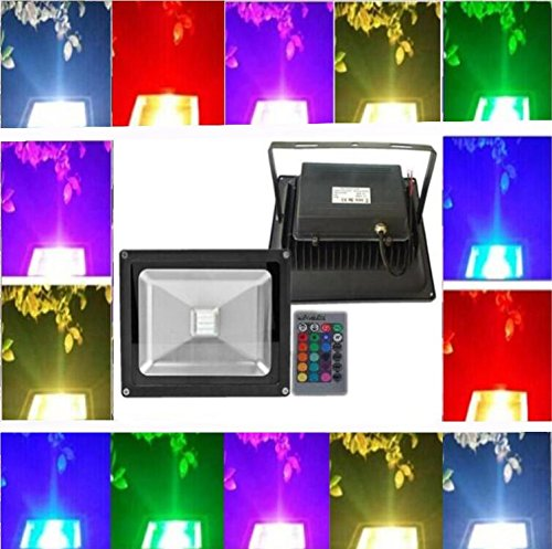 Low Volt Led light Trendmart DC / AC 12V 10W RGB Led Floodlight Lamp Waterproof Ip 65 Outdoor Security Wash Flood Light Landscape Lighting (10W RGB Black finish).