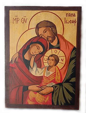 Icona dipinta a mano su legno raffigurante la Sacra famiglia: la Vergine Maria, Bambino Gesù e San Giuseppe IconShop