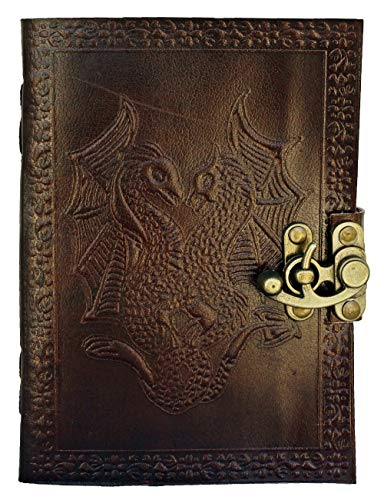 Handmade Large Embossed Leather Journal Stone Blank Personal Diary Notebook Buckle Closure Refillable Gift All Size (Double Dragon)