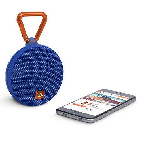 JBL Clip 2 Waterproof Portable Rechargeable Bluetooth Wireless Speaker Mic, Blue (Renewed)