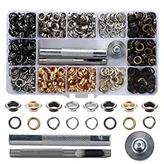 1/4 Inch Grommet Kit 400 Sets Grommets Metal Eyelets with 3 Pieces Install Tool Kit and 1 Tweezers As a Gift. (6mm 4 Colors)