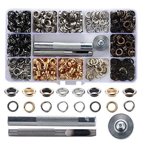 E-Uli 1/4 inch Metal Grommets Kit,400Sets Metal Eyelets with 3 Pieces Installation Tools for Shoe Clothes Crafts Bag DIY Project and Decoration (4 Colors) ...