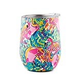 DOKIO 12 oz Flamingo Wine Sippy Cup For Adults Insulated Wine Glasses Cup Wine Tumbler Mug Stemless Stainless Steel Double Wall Vacuum With Crystal Clear Lid For Ice Hot Drink Coffee Outdoor Camping