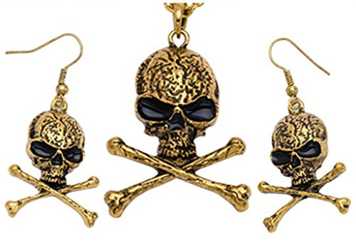 Pirate Skull Cameo Necklace (Epinki Jewelry Set, Womens Stainless Steel Earrings and Necklace Sets Pirates Skull Gold)