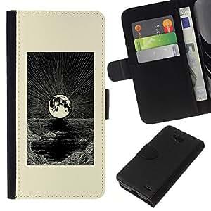 Nice Gift Good Present//Funda protectora bolsa Nuevo diseño cartera de piel Para LG Optimus L90/Art Moon Black White Sea/