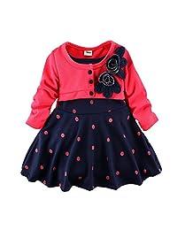 WEONEDREAM Infant Girl Spring Autumn Long Sleeve False Two Princess Dress 2-4T