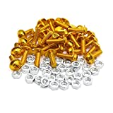 uxcell 35pcs M6 Gold Tone Aluminum Alloy Hex Socket Head Motorcycle Bolts Screws Nuts