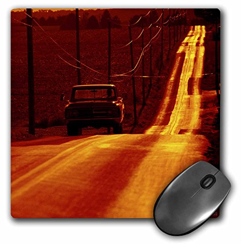 3dRose LLC 8 x 8 x 0.25 Inches Mouse Pad, Pick-Up Truck on an Isolated Road at Sunset Pennsylvania, United States (mp_37782_1)