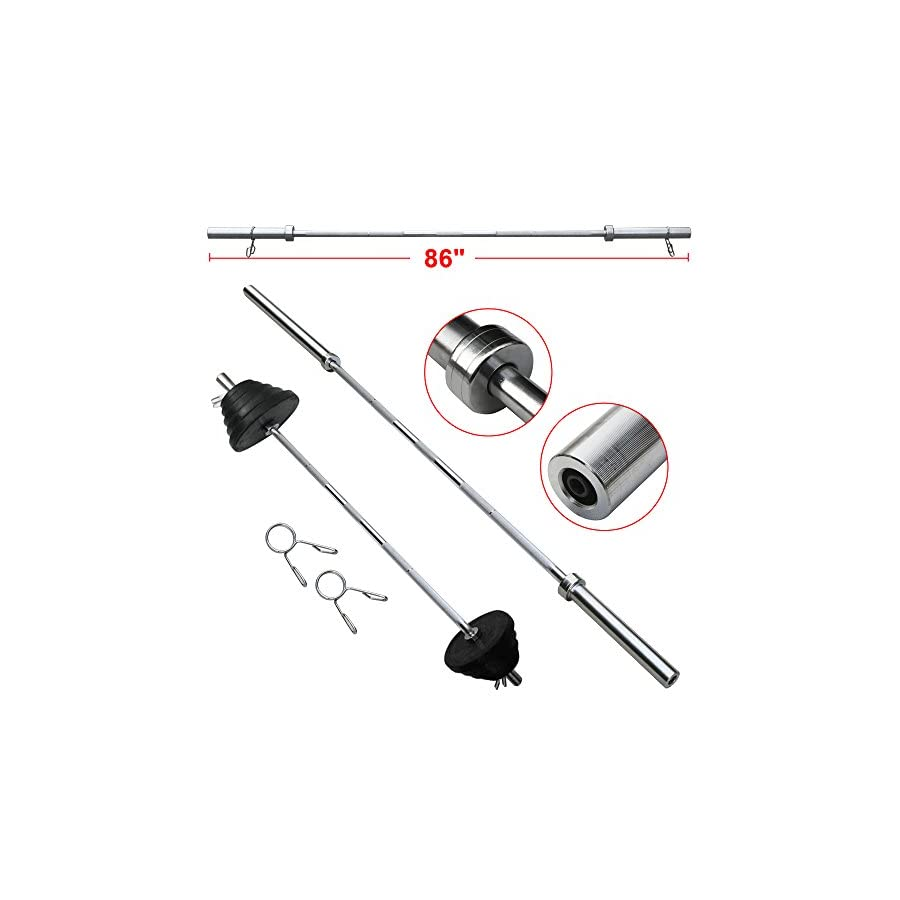 """Yaheetech 7' Foot 86"""" Inch 300 lbs. Iron Olympic Barbell Bar Weight Workout Gym Fits 2 inch Weight Plates/Weight Bench"""