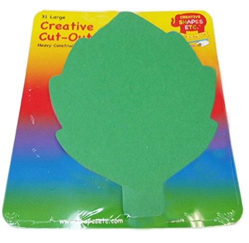 "Green Leaf Large Single Color Creative Cut-Outs, 5.5"" x 5.5"", 31 Leaves to a Package"