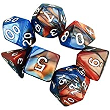 Livoty 7pcs/Set TRPG Game Dungeons & Dragons Polyhedral D4-D20 Multi Sided Acrylic Dice