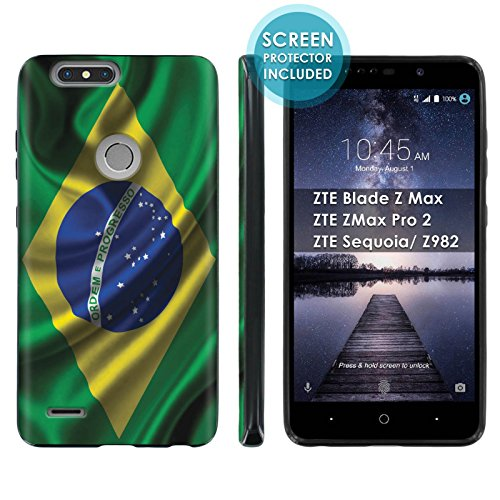 Texas Rangers Blade - [Mobiflare] TPU Phone Cover for ZTE Blade Zmax Pro 2/ZTE Sequoia [Black] Ultraflex Gel Phone Case Screen Protector Included - [Brazil Flag] for ZTE Blade Z Max Z982 [6
