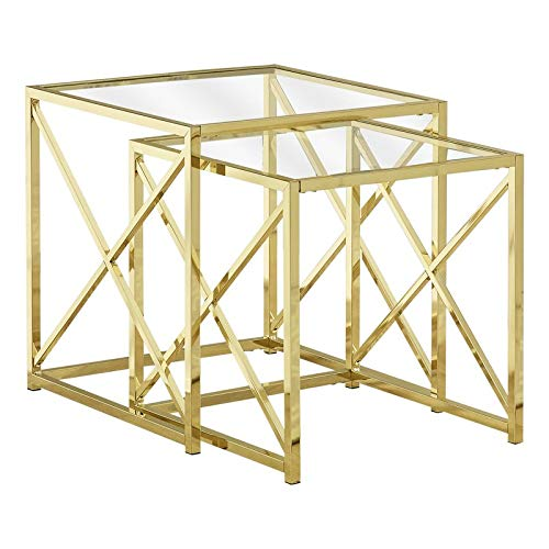 2 Piece Nesting End Tables with Square Glass Top - Metal Base End Table - Gold (Nesting Iron Square Tables)