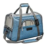 Airline Dog Carrier,Dog Carrier Airline Approved Travel Foldable,Soft Sided Carrier with Fleece Bedding,Dogs Purses,Pet Carrier Under Seat for Small Dog and Cat(17.5''Lx10''Wx11''H,Turquoise)