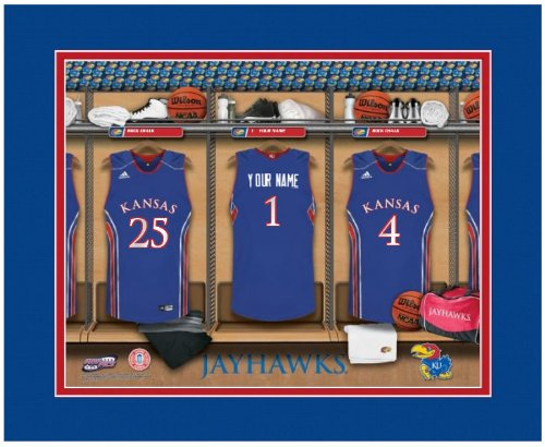 NCAA Locker Room Print Kansas Jayhawks Basketball Personalized Framed (Room Ncaa Kansas Locker Jayhawks)