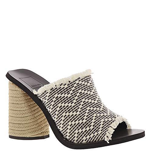 (Dolce Vita Women's Alba Block Heel Sandals, Black/White, 7 M US)