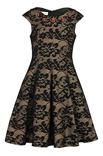 Bonnie Jean Big Girl's 7-16 Jeweled Lace Fit and Flare Party Dress (8, Black) ()