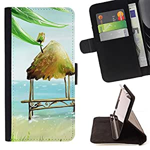 DEVIL CASE - FOR Apple Iphone 5 / 5S - Beach Hut Bench Chair Art Blue Sea Summer - Style PU Leather Case Wallet Flip Stand Flap Closure Cover