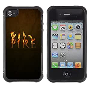 Suave TPU GEL Carcasa Funda Silicona Blando Estuche Caso de protección (para) Apple Iphone 4 / 4S / CECELL Phone case / / Fire Symbol Quote Slogan Passion Fairytale /