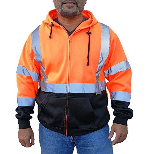 3C Products Mens Fleece Neon Orange Safety Fleece Zipper Hoodie Jacket w/Black Bottom & Reflective Tape (SAJ6800)