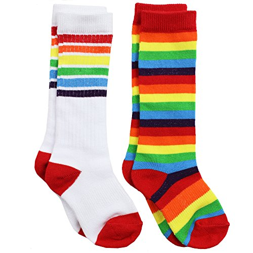 juDanzy Knee High Tall Baby, toddler & kids Socks WITHOUT Grips (12-24 Months (Shoe Size 3C-6C), White with rainbow & Rainbow Stripe) ()
