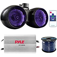 Marine Speaker And Amp Combo: Pyle PLMRMP3A 4 Channel 1200 Watt Waterproof MP3 Power Amplifier Bundle With 6.5 400W Dual Wakeboard Waterproof LED Light Tower Speakers + Enrock 50Ft 16g Speaker Wire