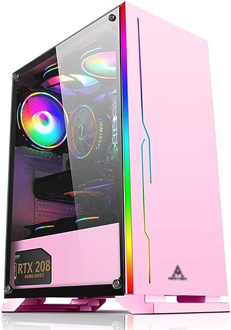 Hdyd Gaming Gehäuse Mid Tower Pc Gaming Gehäuse Atx M Atx Itx Front I O Usb 3 0 Port Ausgeglichenes Glas Seitenwand 8 Lüfter Position Wasserkühlanlage Bereit Color Pink Küche Haushalt