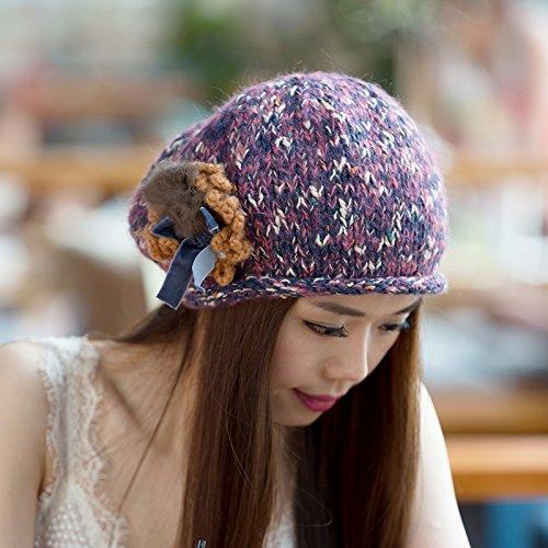 la para Maozi Gorra Flores de Grueso Coreana Punto Invierno al Volumen Lana Aire a Fox 2 del Boina Junto 3 Libre versión otoño PnwPrYpq