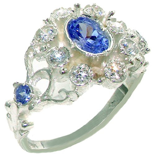 LetsBuyGold 14k White Gold Natural Tanzanite and Diamond Womens Cluster Ring (0.3 cttw, H-I Color, I2-I3 Clarity) ()