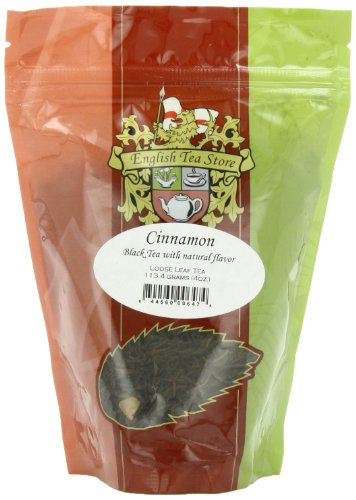 Naturally Flavored Black Tea - English Tea Store Loose Leaf Pouches, Cinnamon Naturally Flavored Black Tea, 4 Ounce