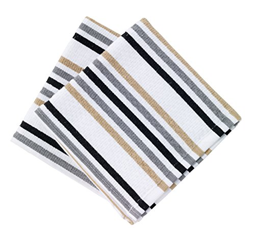 T-fal Textiles Highly Absorbent 100% Cotton Double Sided Printed Dish Cloths, 12 x 12, Set of 2, Striped Pattern, Neutral