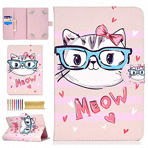 """7.5""""-8.5"""" Tablet Universal Case, UGOCase PU Leather Slim Stand Folio Wallet Case Cover for Apple iPad Mini 1 2 3 4, Samsung Galaxy Tab A/Tab E 8.0, iRulu, RCA & More 8 Inch Tablet, Cute Cat"""