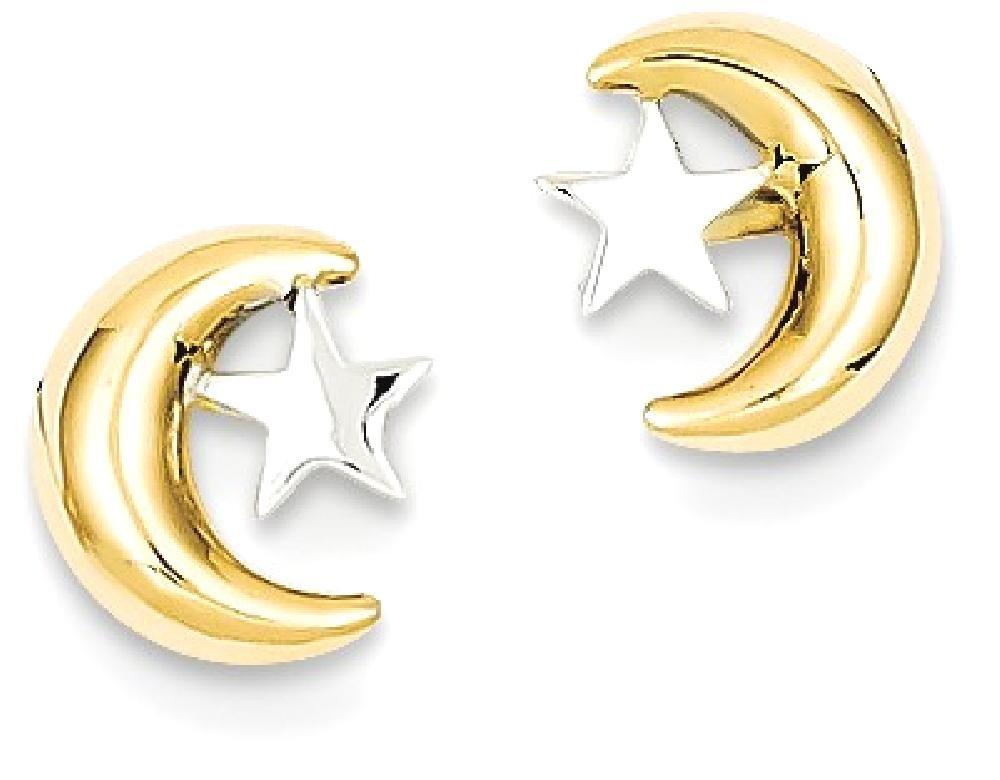ICE CARATS 14k Yellow Gold Rho Moon Star Post Stud Ball Button Earrings Celestial Fine Jewelry Gift Set For Women Heart