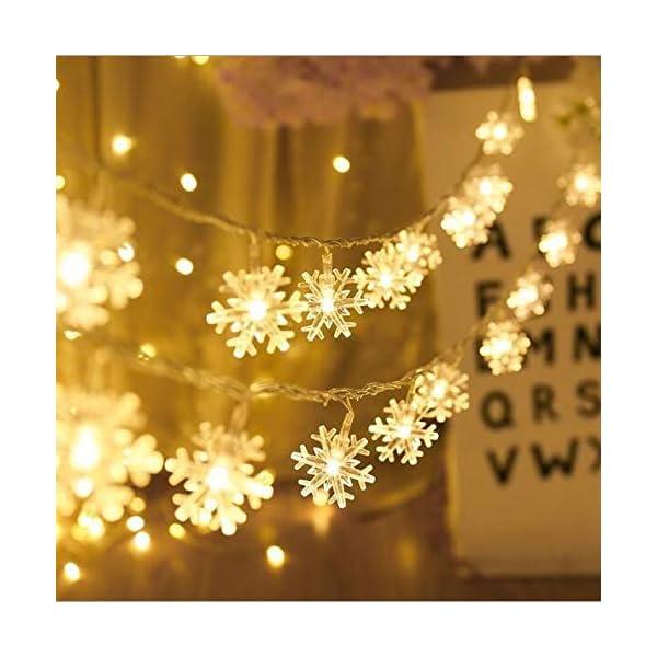 Catena Luminosa,Luci natalizie a forma di fiocco di neve,per Natale,giardino,terrazza,camera da letto,feste,interni ed esterni,luce bianca calda 3 spesavip