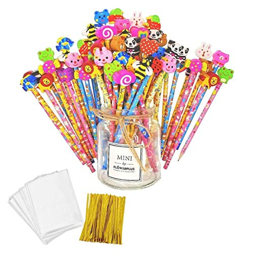 JZK 50 x Wooden Graphite Pencils Set with Cartoon Rubber erasers for Kids Children Party Favours give Away Thank You Gift Party Bag Filler Birthday for Boys -