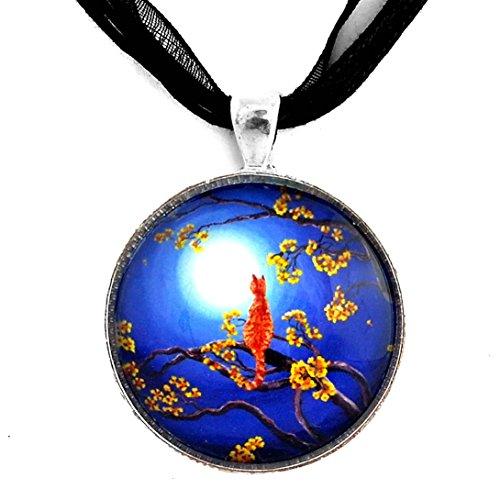 Orange Tabby Cat Pendant Necklace Blue Moonlight Moon Tree Branch Yellow Flowers Zen Boho Bohemian Handmade Art (Black Ribbon Necklace)