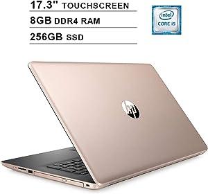 2020 Newest HP Pavilion 17.3 Inch Touchscreen Laptop (Intel 4-Core i5-8265U up to 3.9GHz, 8GB DDR4 RAM, 256GB SSD, Intel UHD 620, WiFi, Bluetooth, HDMI, Webcam, DVD, Windows 10 Home) (Gold)