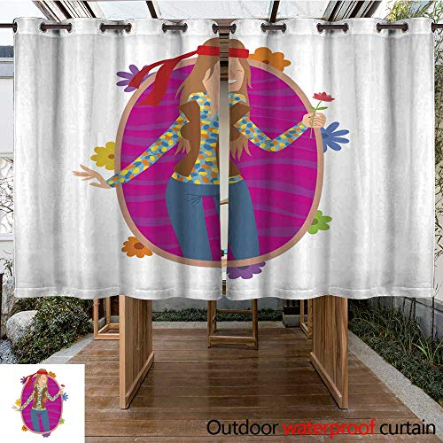 RenteriaDecor Outdoor Balcony Privacy Curtain Oval Frame Woman Hippie with Long Brown Hair W96 x L72