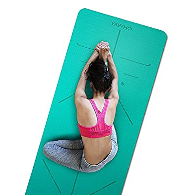 YAWHO Yoga Mat Fitness Mat Eco Friendly Material SGS Certified Ingredients TPE Specifications 72'' x 26'' Thickness 1/4-Inch Non-Slip Extra Large Yoga Mat with Carry Strap and Carry Bag