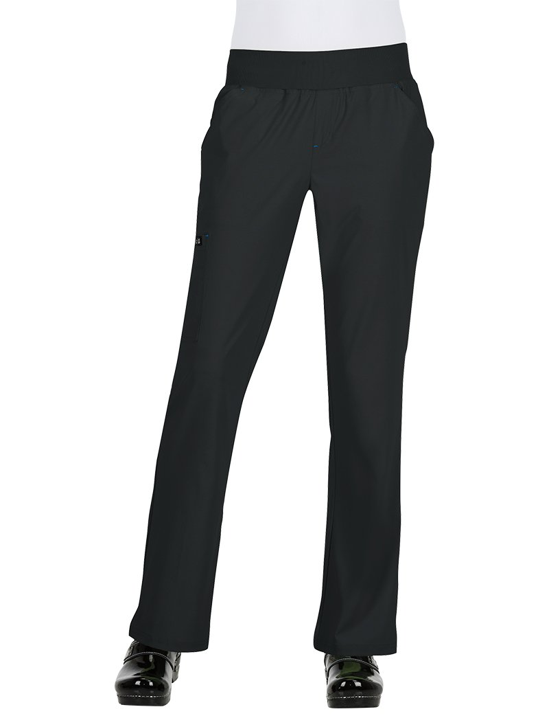 KOI Basics Women's Laurie Flare Leg Knit Waist Yoga Scrub Pant Medium Black by KOI