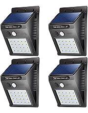مجموعة اضواء امان خارجية تعلق على الجدار تعمل بالطاقة الشمسية لتوفير الطاقة وتحوي 20 ضوء ليد مزودة بجهاز استشعار حركة بالاشعة تحت الحمراء لاضاءة الممشى والفناء وحديقة المنزل