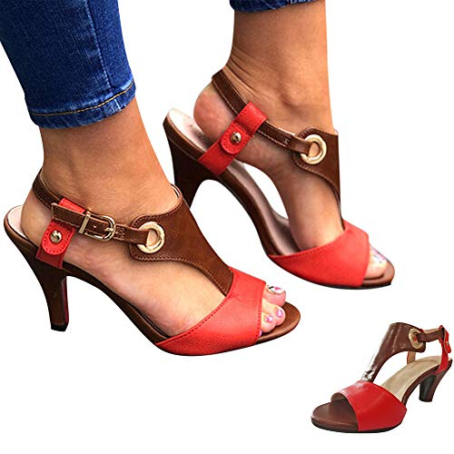 Swiusd Woman Girls Pointed Toe Roman Sandals Fish Mouth Open Toe Sandals Ankle Strap Buckle Mid Heel Office Lady Work Sandals (Red, 7 M US) (Red One Strap Heels)
