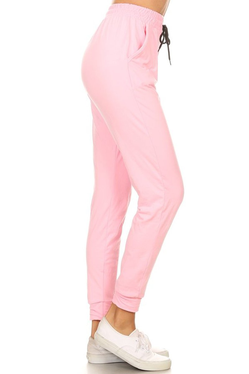 Leggings Depot Women's Printed and 3-Stripes Activewear Jogger Track Cuff Sweatpants Inner Pockets (Pink, Medium)