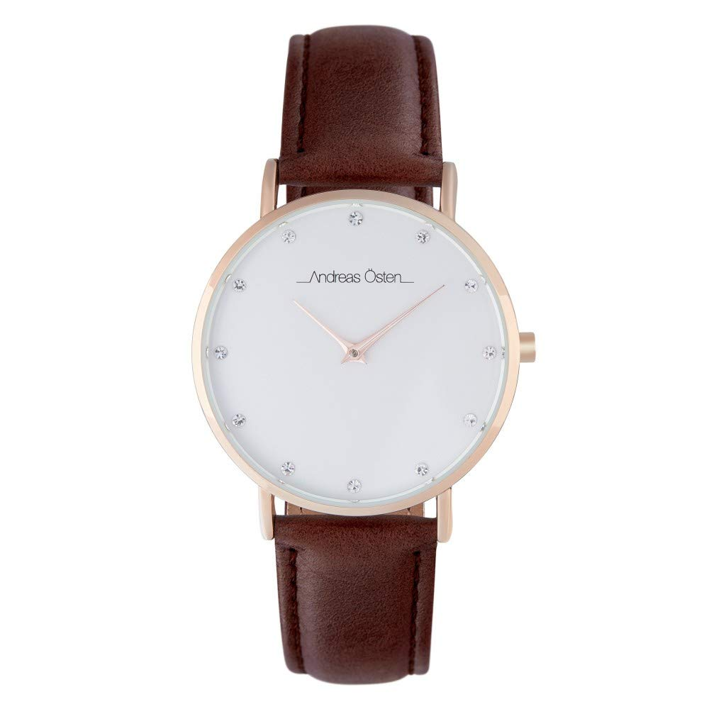Andreas Osten Unisex Quartz Watch 36 mm White Dial and Brown PU Bracelet AOW18028