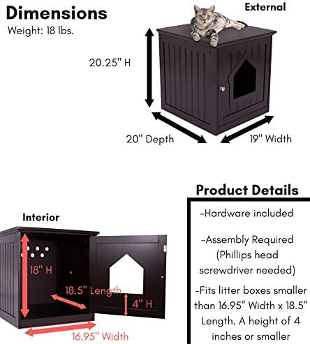 Pentaero 52X49X63.5 Cat Side Table Pet Bedside Cabinet Crates Decorative Cat House Side Table Pet Nightstand Crate Cat Litter Box Enclosures Suitable for Home /& Office WH