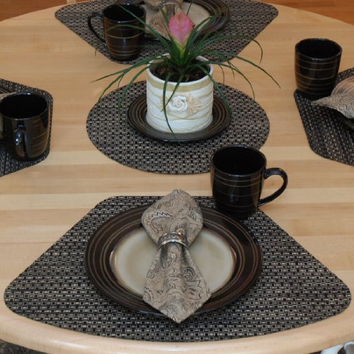 Amazon.com: Set Of 2 Driftwood (Black U0026 Tan) Wipeable Wedge Shaped Placemats  For Round Tables: Home U0026 Kitchen